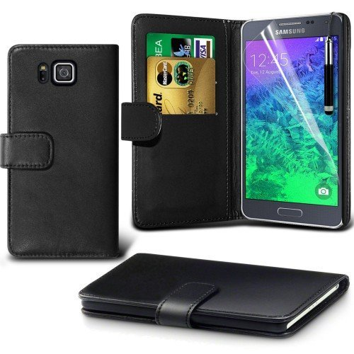 Samsung Galaxy Alpha Cubierta del caso con cuero (Negro) Plus de regalo libre, Protector de pantalla y un lápiz óptico, Solicitar ahora mejor caja del teléfono Valorado en Amazon! By FinestPhoneCases