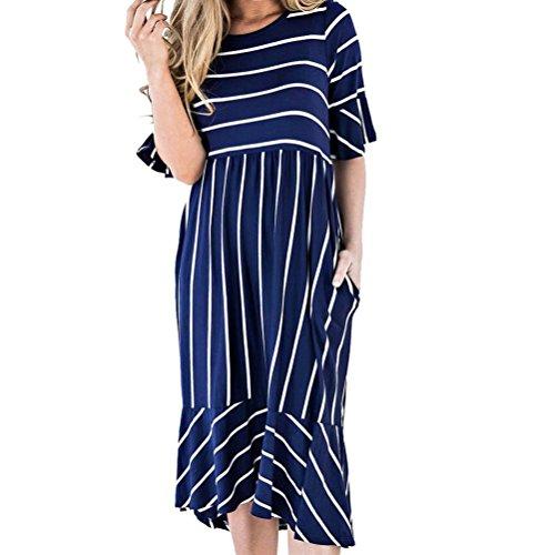 - Kanzd Women's Striated Print Pocket Short Sleeve Summer Petal Skirt Loose Dress A-Line Dress Summer Beach Dres (B, M)
