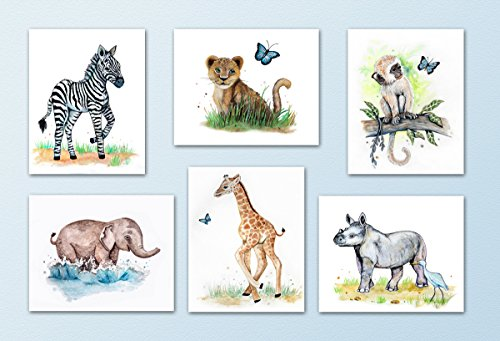 Painted Baby Safari Animals Art Prints Home/Nursery Decor 8quotx10quot 6 Set of Six