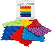Rainbow Set of Massage Game Mats for Kids - Orthopedic Massage Puzzle Floor mats - Carpet