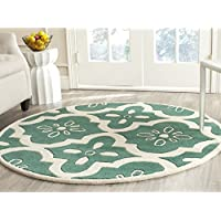 Safavieh Chatham Collection CHT751T Handmade Teal and Ivory Premium Wool Round Area Rug (5 Diameter)