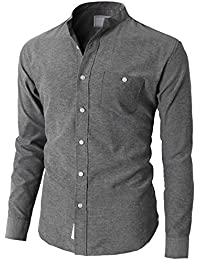 Mens Casual Slim Fit Oxford Banded Collar Button-Down Shirt With Pocket