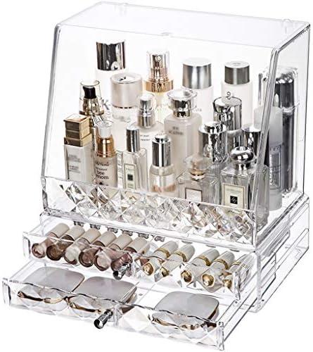 化粧品収納ボックス 家庭用大容量引き出し防塵化粧品収納ボックスダイヤモンドカット面透明アクリルスキンケアマスク口紅サイズ JAHUAJ (Color : B)