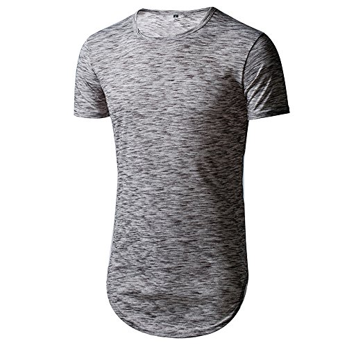 CHANGPING Top Shirts Mens Summer Short Sleeve Hip Hop Basic Breatable Cotton Tee Gray XXXL by CHANGPING