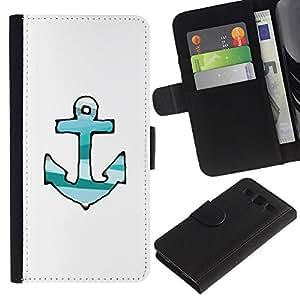For Samsung Galaxy S3 III i9300 i747 Case , Drawn Lines Green Teal White Anchor - la tarjeta de Crédito Slots PU Funda de cuero Monedero caso cubierta de piel
