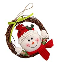 Luxury Merry Christmas Party RED Santa Snowman Dried Grapevine Wreath Door Wall Decoration (Multicolor B)