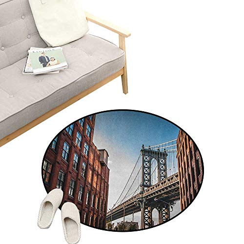New York Custom Round Carpet ,Manhattan Bridge Seen from Narrow Alley Island Borough Globally Influential Town NYC, The Custom Round Non-Slip Doormat 47