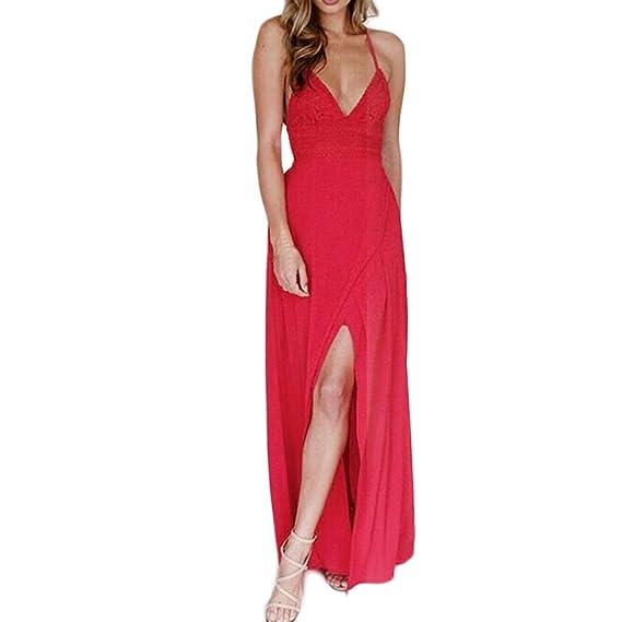 MRULIC Lange Maxi Kleid Womens Lace Camisole Red Backless Chiffon  Ärmelloses Strandkleid  Amazon.de  Bekleidung 37743287d2