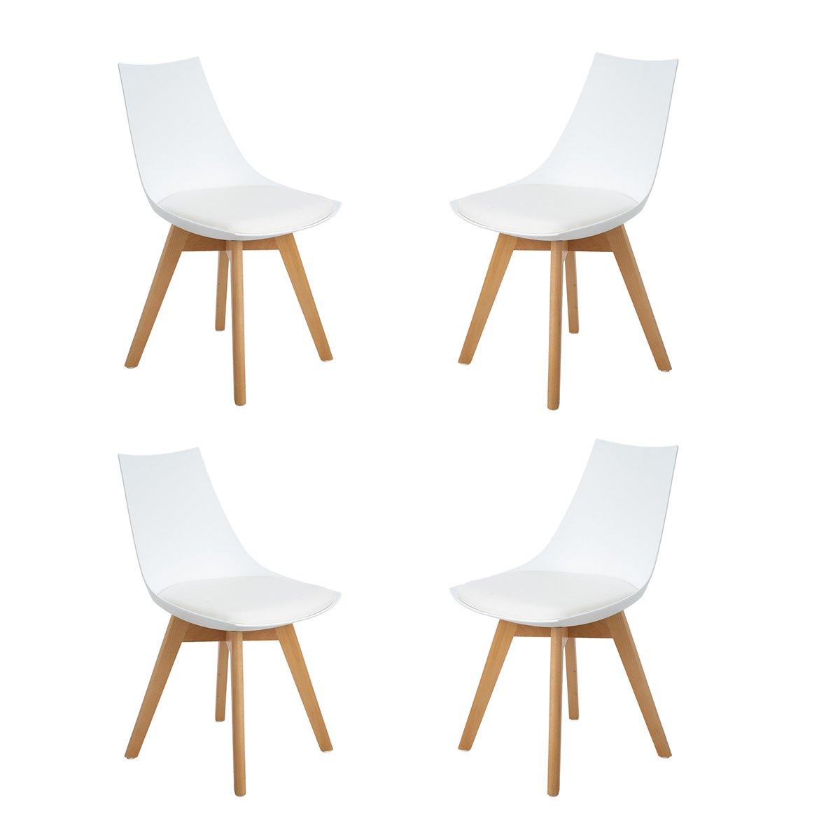 H.J WeDoo 4er Set Retro Design Stuhl Esszimmerstühle Wohnzimmerstühl Wohnzimmerstühl Wohnzimmerstühl mit Bequem Gepolstertem Sitz, Weiß 68c9c0