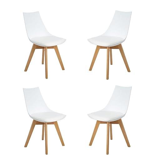 HJ WeDoo Pack de 4 Tulip Silla de Comedor, sillas de Cocina con Las piernas de Madera de Haya Maciza y cojín cómoda, Blanco&Negro