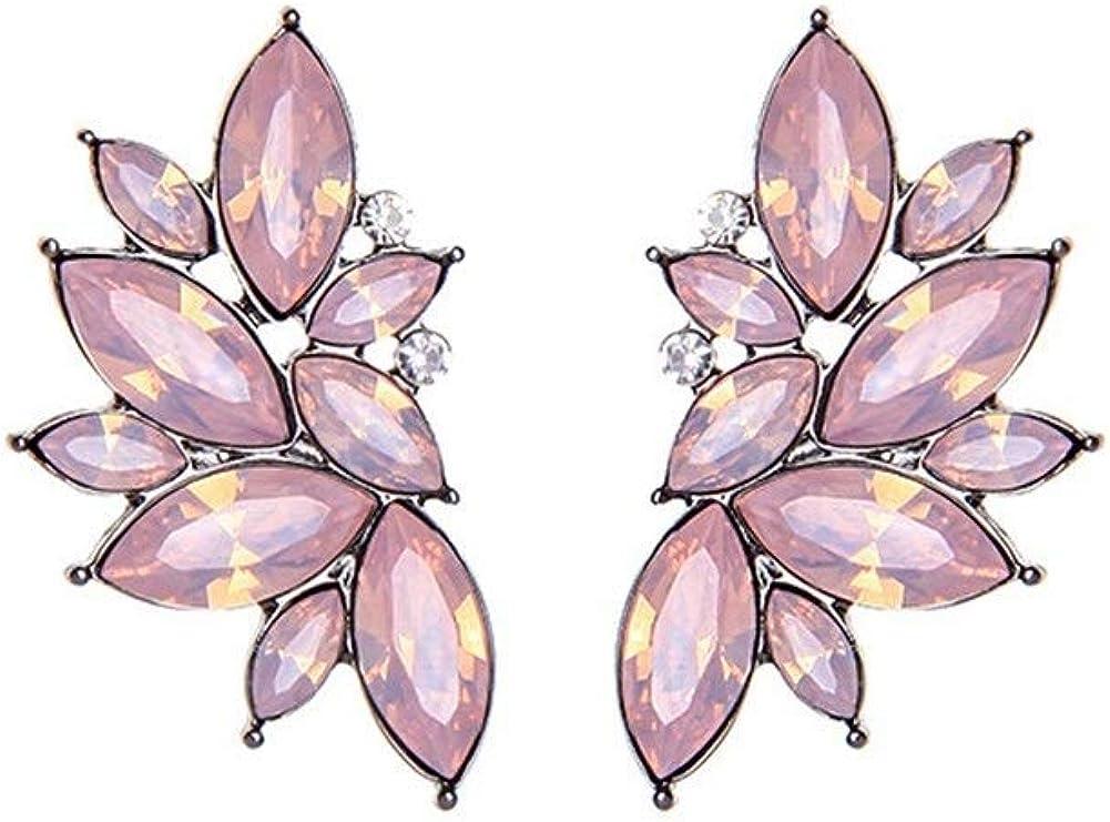 Pendientes Mujer Pendientes Ear Cuff Pendientes de diamantes y coloridas flores silvestres pendientes pendientes de piedras preciosas de cena