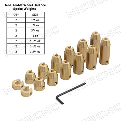 Motorcycle Wheel Weights (NICECNC Motorcycle 14 Pack Reusable Brass Wheel Spoke Balance Weights Refill Kits for Super Moto,Dual sport,metric cruisers,vintage,or any other spoked wheels)