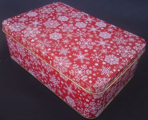 - The Pecan Man Large Snowflakes Red cookie tins empty with lids christmas gift boxes