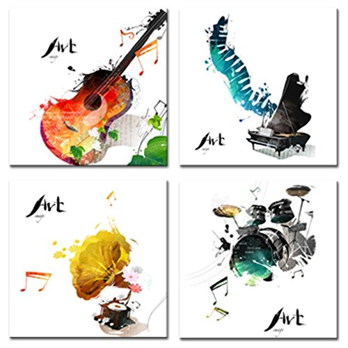 4 Pieces Canvas Wall Art Guitar Piano Phonograph and Drum Set Four Kinds of Classical Music Instruments Picture Music Painting Giclee Art for Home Decor Framed Ready to Hang - Phonograph Instruments