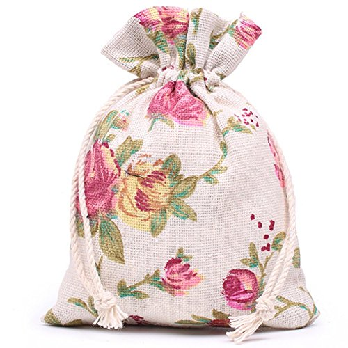KUPOO 50PCS Rose Drawstring Bags Burlap Flower Pouch Bags Gift Bags Jewelry Pouches for DIY Craft Wedding Party, 5.5X3.9 Inches (5.5X3.9)