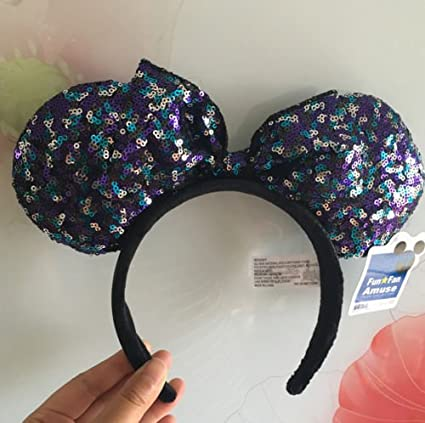 d0accf13bfd Amazon.com  New Disney Parks Minnie Mouse Multiple Sequin Ears Bow Headband  Party Costume  Toys   Games