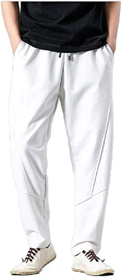 AngelSpace Men Slim-Tapered Oversized Folk Style Summer Relaxed Palazzo Trousers