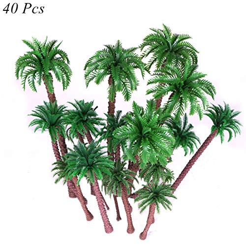 Ymeibe 40 PCS Coconut Palm Model Trees Diorama Plastic Trees Artificial Layout Rainforest Miniature Trees Train Railways Architecture Building Model Trees Cake Topper Decoration from Ymeibe