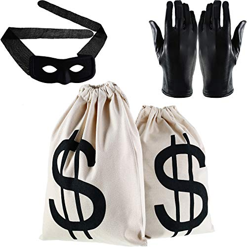 Gejoy Cosplay Bandit Eye Mask Costume Money Bags with Dollar Sign and Gloves