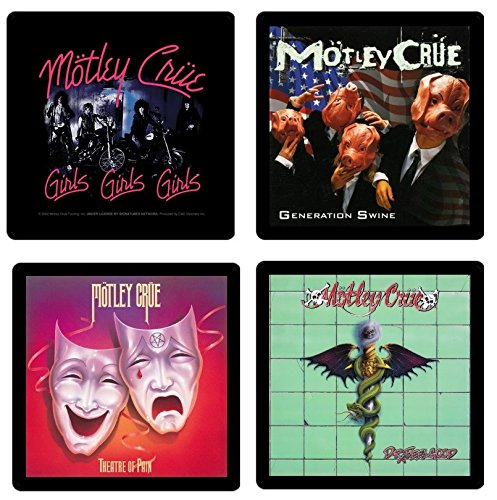 Motley Crue - Collectible Coaster Gift Set #1 ~ (4) Different Album Covers Reproduced on Soft Pliable Coasters
