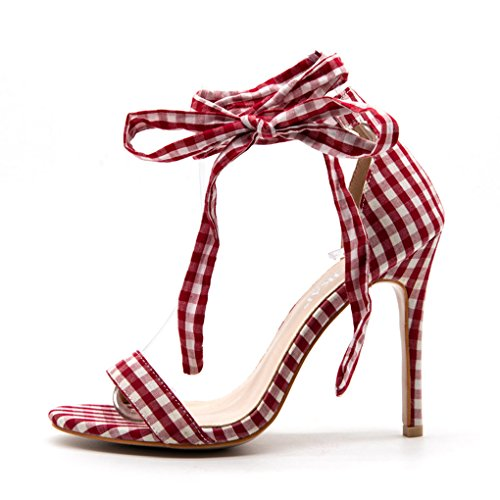 Womens Sandals Cross-Tied Plaid High Heeled Sexy Gingham Wedding Party Sandals