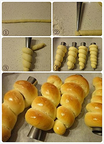 Cream Horn Pastry Roll Molds,Stainless Steel Lady Lock Form,Set of 16 [Free Pastry Bag as Bonus] 3 Cream horns.It's tradition for Mom & Grandma to spend all day in the kitchen making them for special occasions.They're a staple at every Wedding Cookie Table in Youngstown and Pittsburgh. Cream Horn Mold:Strong, durable, stainless steel, corrosion resistant. Food Grade Pastry Bag: reusable, non-stick, tasteless & non-toxic.Clean by warm (40c-50c)will be better.