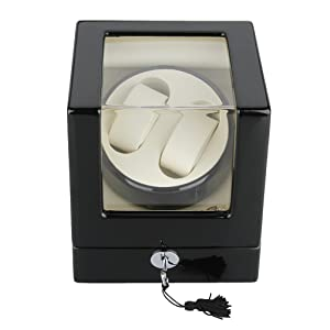 Excelvan Rectangle Mute Automatic Double Watch Winder with Lock Dual Watch Rotator Watch Storage Box