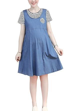 2b4b33773c853 Huateng Maternity Fake Two Stripe Denim Stitching Loose Pregnant Women Dress:  Amazon.co.uk: Clothing