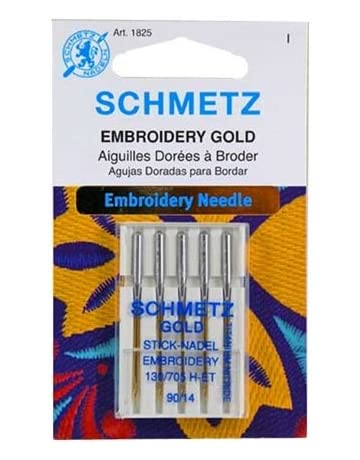Schmetz Gold Titanium Embroidery Needles Size 90/14