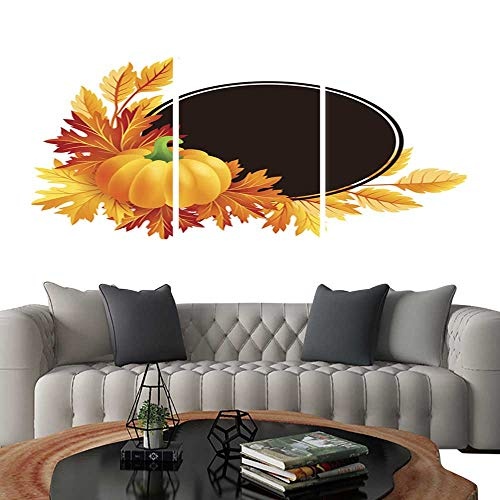 ngs on Canvas WallAutumn Pumpkin with Fall Maple Tree Leaves Frame. Brick Wall Stickers 16
