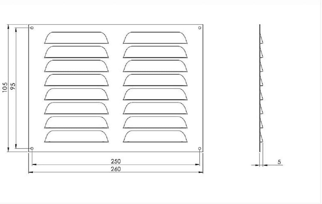 mr26105b Grille da/ération avec moustiquaire Marron 260 x 105 mm