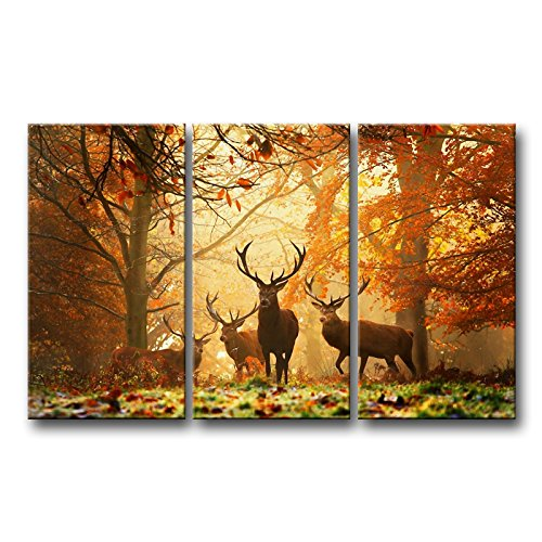 So Crazy Art 3 Panel Brown Wall Art Painting Deer In Autumn Forest Pictures Prints On Canvas Animal The Picture Decor Oil For Home Modern Decoration Print - Autumn Art Print