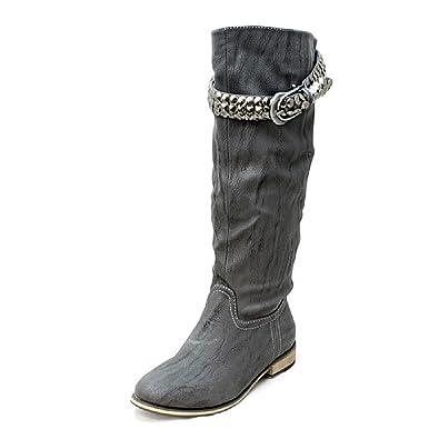 Grey Creased look flat knee length boots with metal buckle strap OajiLoKeiq