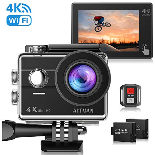 ACTMAN 4K Action Camera 16MP Underwater Waterproof Camera with Wi-Fi Remote Control, Touch Screen Sports Cam, 2 Rechargeable Batteries and Mounting Accessories Kits