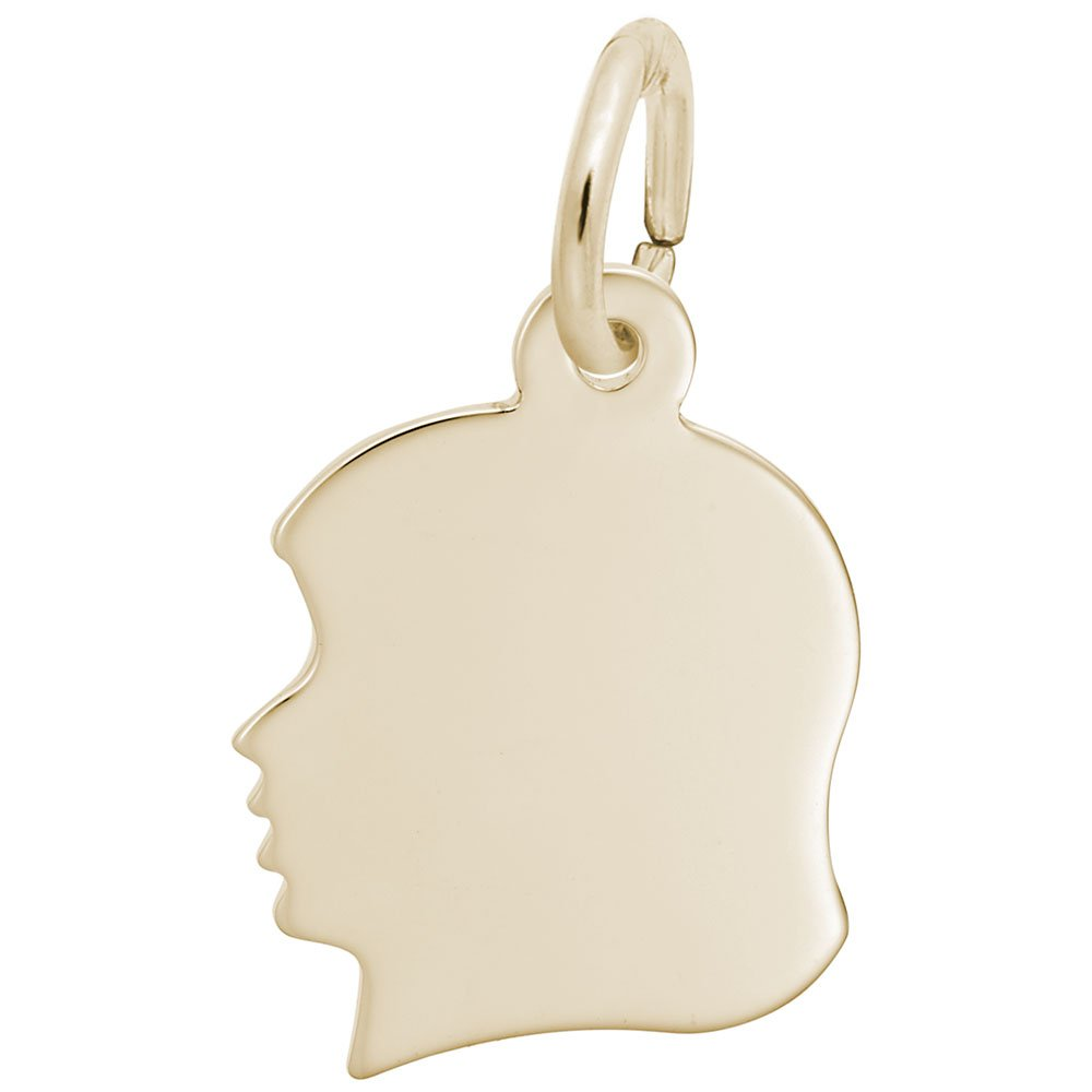 Rembrandt Charms, Small Girl Silhouette, 10K Yellow Gold, Engravable