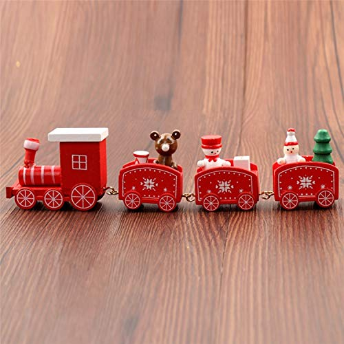 JEWH New Christmas - Train Painted - Wood Christmas - Decoration for Home with Santa/Bear - Xmas Kid Toys Gift Ornament Navidad - New Year Gift (RED)