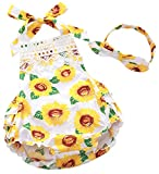CHUNG Baby Girls Cotton Ruffles Romper Summer Climbing Clothes Bodysuit With Headband, Sunflower, 0-6M