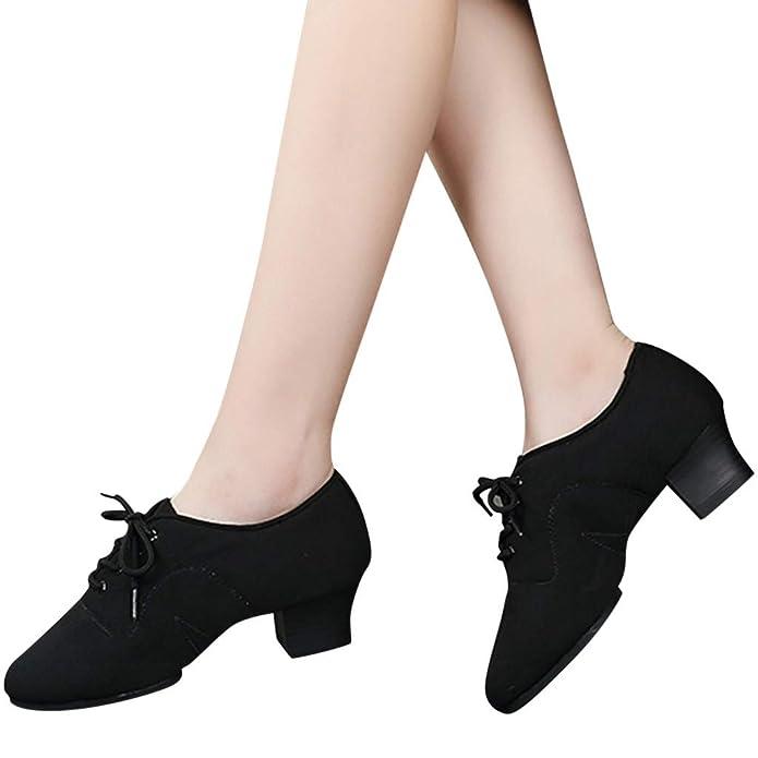 Donna Scarpe da Ballo Latino Danza Eleganti Panno di Oxford Ballo Moderno Scarpe con Standard Tacco 4cm Anti Scivolo Scarpe da Principessa Sala da