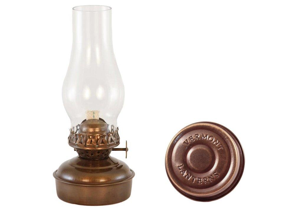 Hurricane Oil Lamps - Antique Brass Mini XL Wall Lamp 7'' - Lantern Sconce