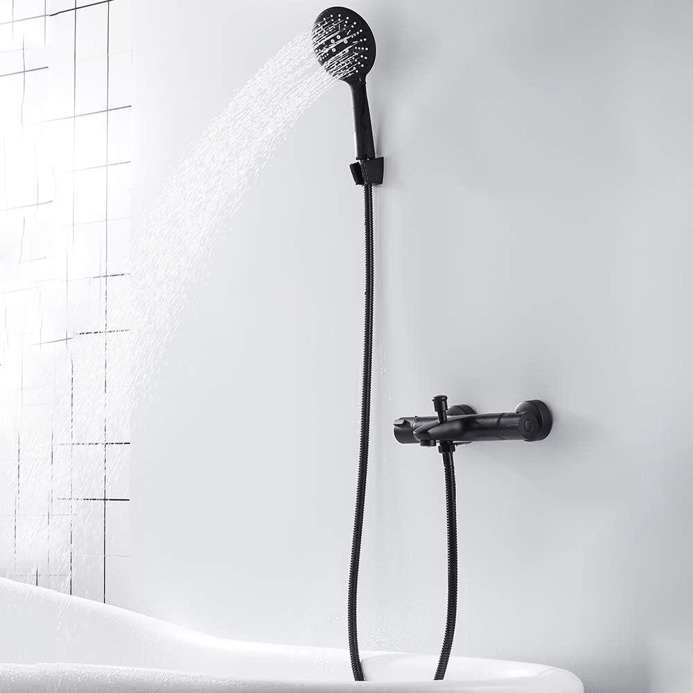 ODOMY Wannenarmatur Duschthermostat Armatur mit Handbrause Schwarz Aufputz f/ür Dusche Badewanne Duscharmatur Duschsystem G 1//2 mit 38 /°C Temperaturstop