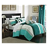 Chic Home 7-Piece Highland Plush Micro Suede Striped Comforter Set, King, Blue/Turquoise/Grey