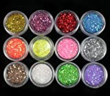 12 Mini Nail Chunky Glitter Flake Crystals Art Sparkle Bright Tips Decoration