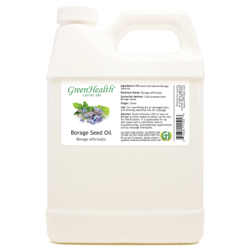 GreenHealth Borage Seed - 32 fl oz (946 ml) Plastic Jug w/Cap - 100% Pure Carrier Oil