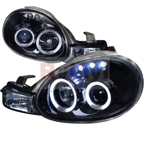 Spec-D Tuning LHP-NEO00G-TM Dodge Neon Plymouth Es Acr Rt Glossy Black Halo Led Projector Headlights - Dodge Neon Halo Headlights
