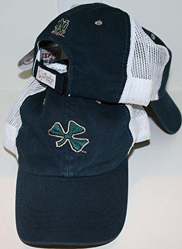 (ZHATS Notre Dame ND Fighting Irish Blue Trucker Green Clover Mesh Unstructured Low Profile Cruiser Adult Mens/Boys Baseball Cap/Hat)