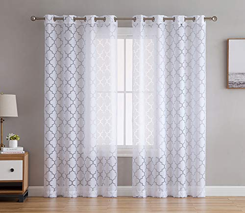 HLC.ME Sheer Voile Grommet Window Curtain Panels for Bedroom, Living Room & Nursery Room - 84