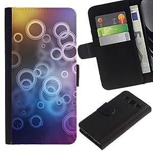 LASTONE PHONE CASE / Lujo Billetera de Cuero Caso del tirón Titular de la tarjeta Flip Carcasa Funda para Samsung Galaxy S3 III I9300 / Neon Bubble Circle Pattern