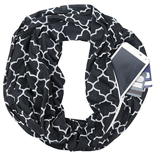 Cyber-Monday-Sale-2018, Holiday-Deals, Sales - Pop Fashion Black Scarf, Scarf for Kids, Scarf for Women, Infinity Scarf, Zipper Scarf, Black Scarves
