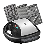 Aicok Sandwich Maker, Panini Press Grill, Waffle Maker, American Toaster Maker, 3-in-1 Detachable