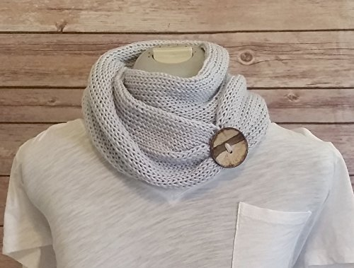 Ice Blue Handmade Knit Merino Wool Bamboo Infinity Cowl Scarf Coconut Button